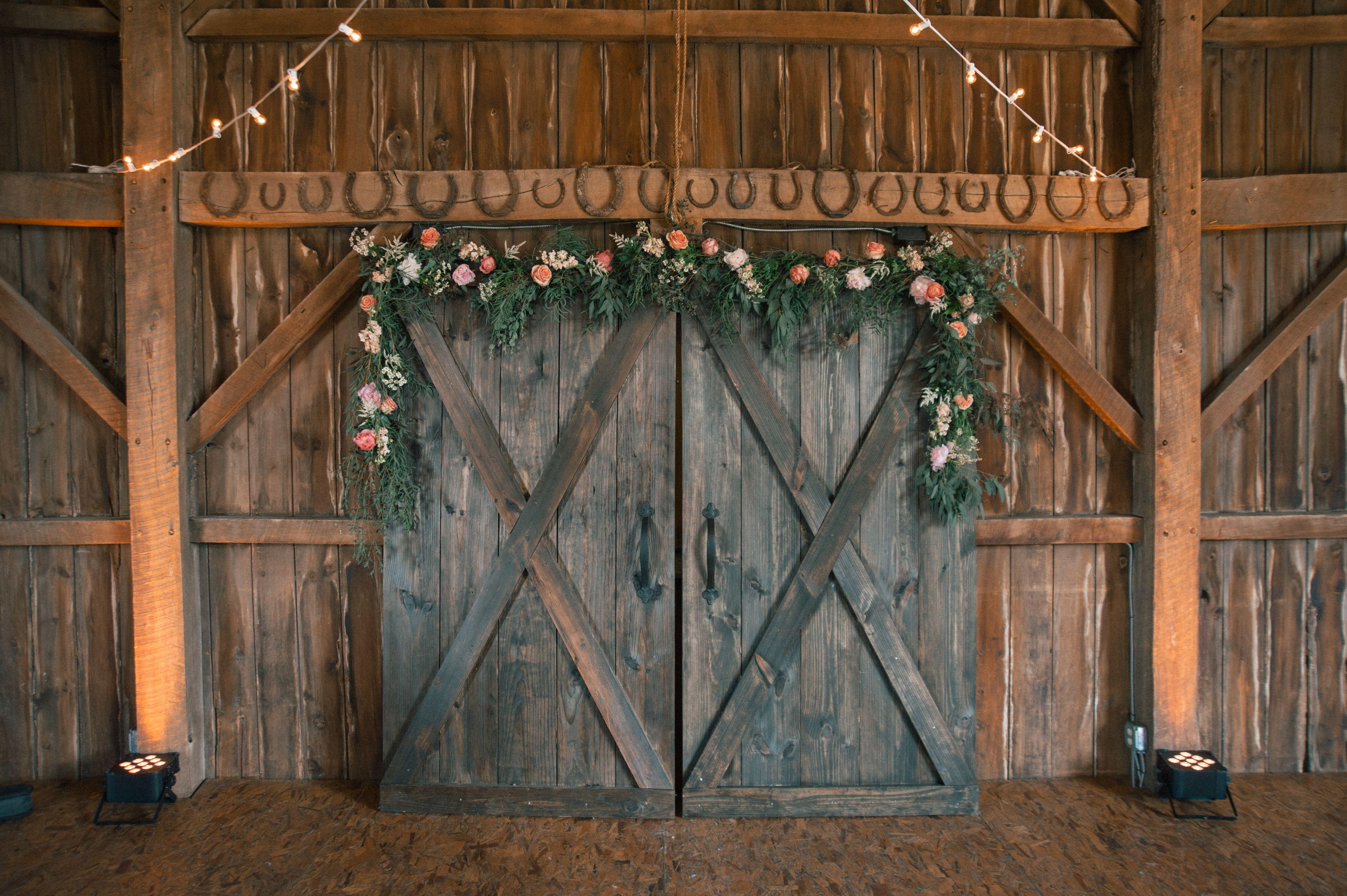 Rustic Barn Door Ceremony Backdrop Barn Door Wedding Backyard