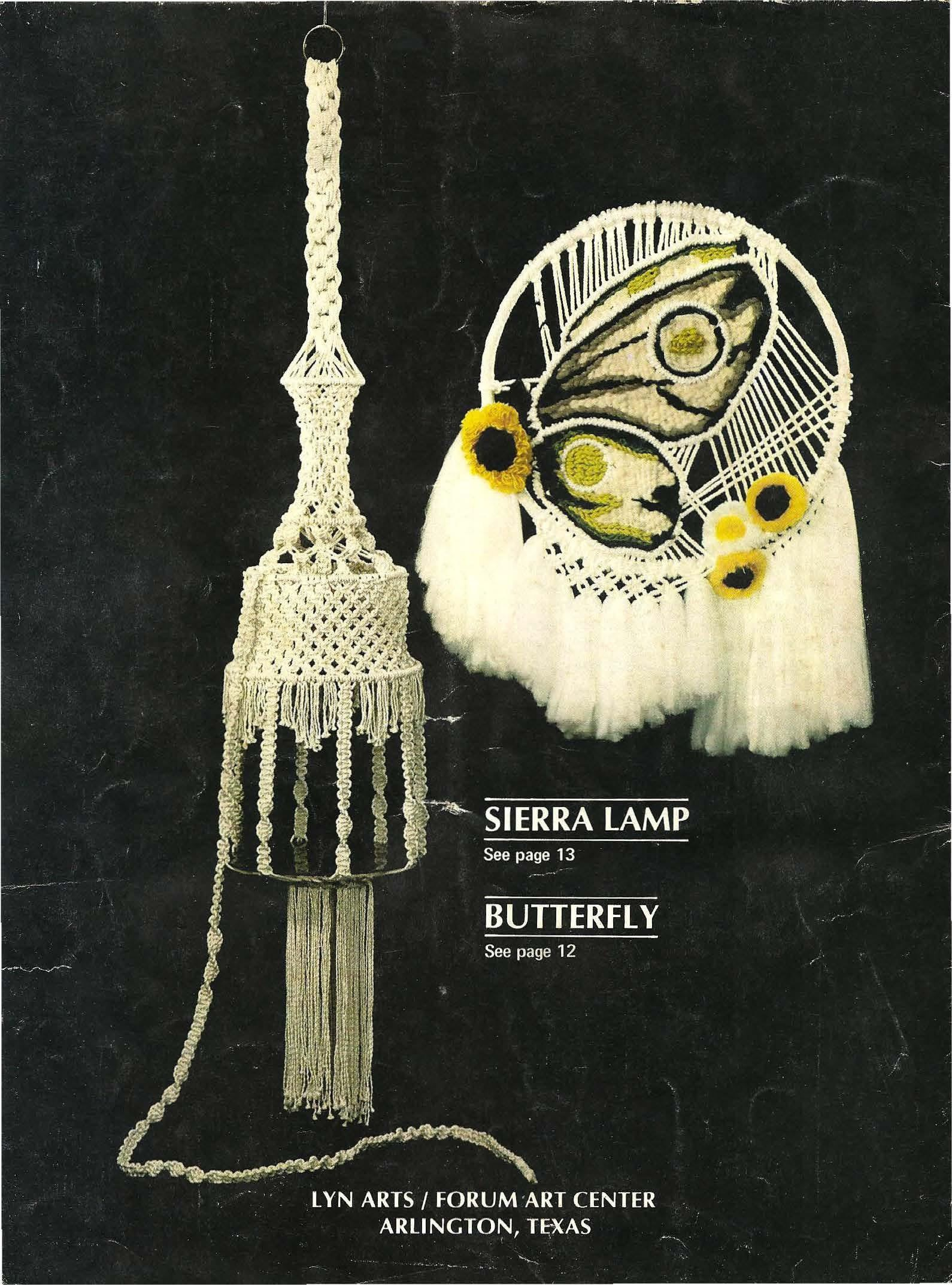 Vintage Macrame Wall Hanging Pattern, Macrame Pattern Sierra Lamp and Butterfly, Decorative Macrame, Old Pattern Macrame
