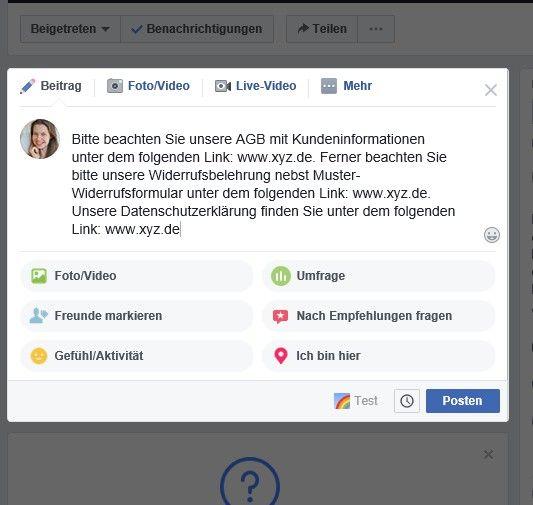 Facebook Gruppen Agb Widerrufsbelehrung Und Datenschutzerklarung Rechtssicher Darstellen Belehrung Facebook Datenschutzerklarung
