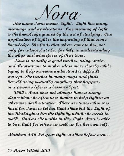 34++ Nora name meaning ideas