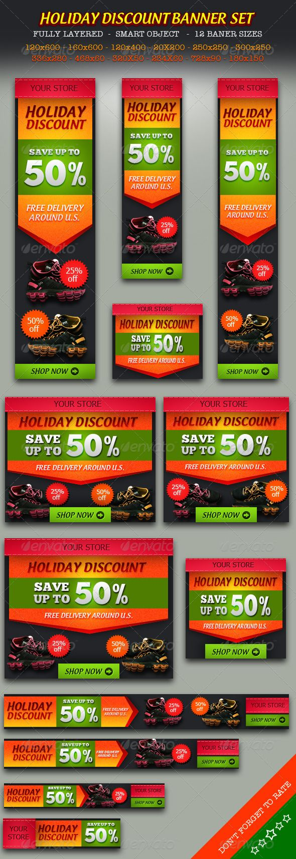 Design of discount card - Holiday Discount Online Store Banner Ad Set