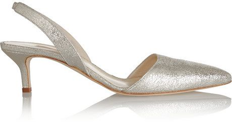 Cheap And Classic Oscar De La Renta Gold Samie Metallic Textured leather Pumps