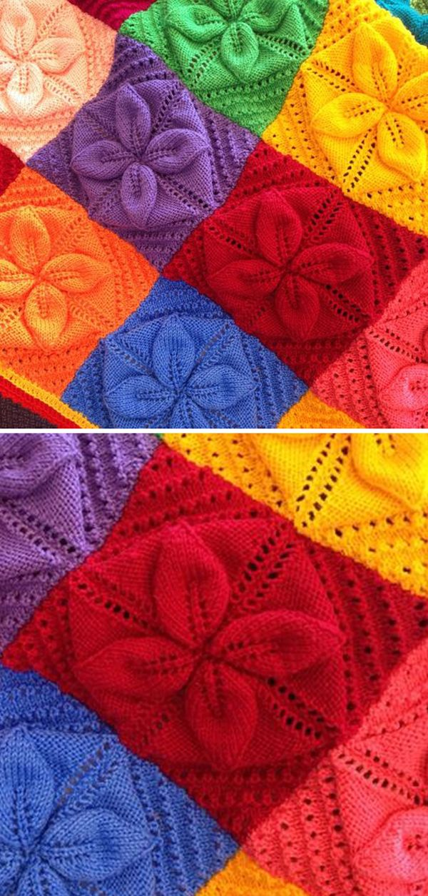 Lucky 4-Leaf Afghan Block - Free knitting Pattern ...