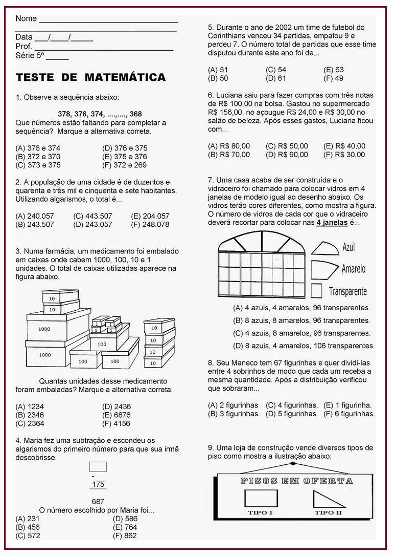 Atividade Avaliativa De Matematica Sala De Aula Profª Rerida