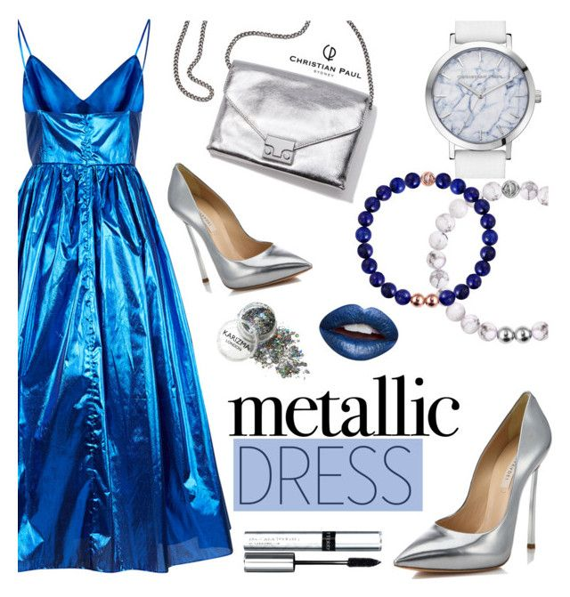 """C. Paul: Metallic Dress (9)"" by wannanna ❤ liked on Polyvore featuring Malene Oddershede Bach, Loeffler Randall, Casadei, By Terry, Nevermind, Blue, Silver, metallic, partystyle and christianpaul"