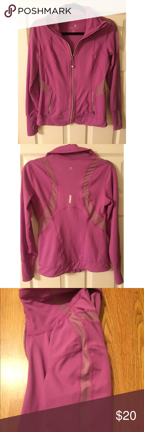 NWOT Tangerine purple mesh zip up athletic jacket Tangerine light purple zip up athletic jacket with mesh panels and thumb holes. Zippered pockets. New without tags. lululemon athletica Jackets & Coats