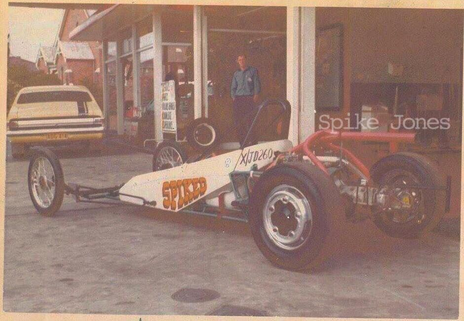 Spike Jones Drag car at his woonona service station in the