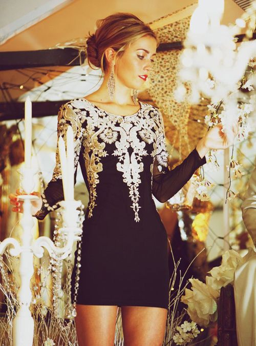 Black With Gold Cocktail Party Dress | fashionista | Pinterest ...