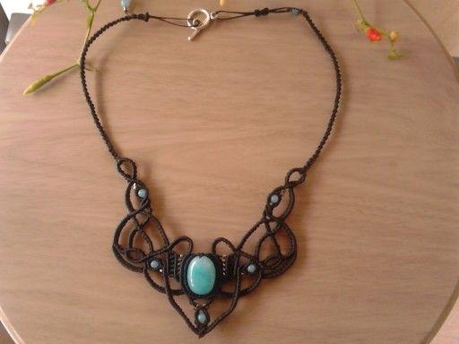 Macrame necklace with amazonite stones