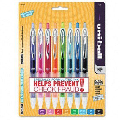 uni-ball 207 Retractable Medium Point Gel Pens, 8 Colored Ink Pens(1739929)