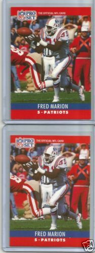 1990 PRO SET FRED MARION BELT ERROR AND CORRECTED ERROR CARDS