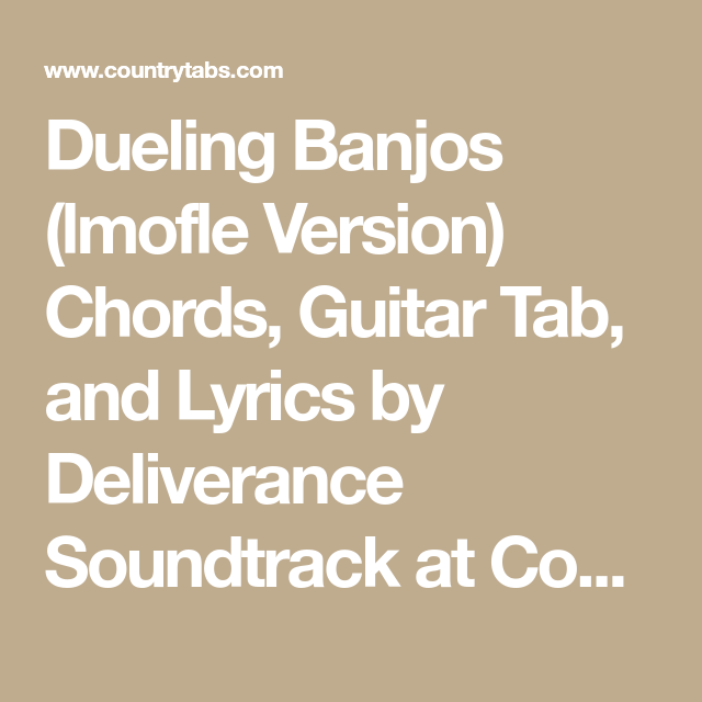 Dueling Banjos Lmofle Version Chords Guitar Tab And Lyrics By