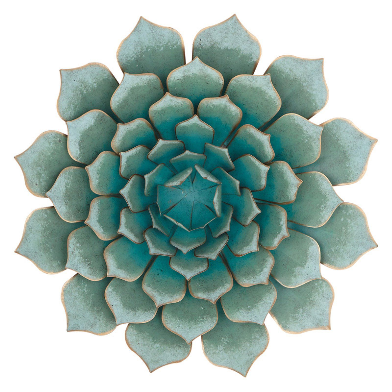 Decmode contemporary metallic teal flower wall decor