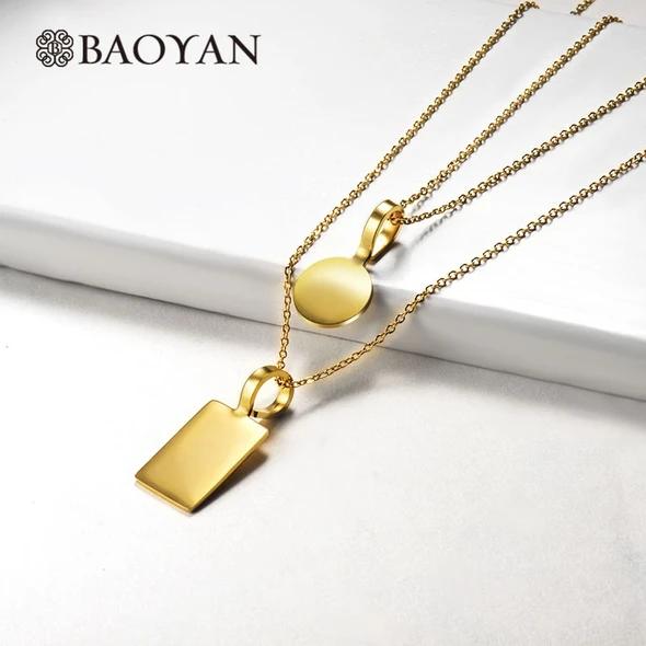 Photo of Baoyan Solid Gold Edelstahl Halskette glatte goldene Runde Rechteck Anhänger …
