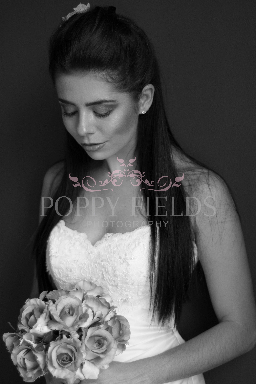 Monochrome Bridal Portrait by Poppy Fields Photography