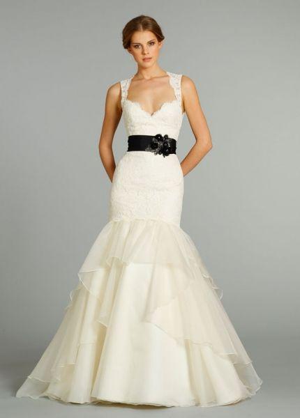 vestido de novia blanco y negro jim hjelm belted black and white