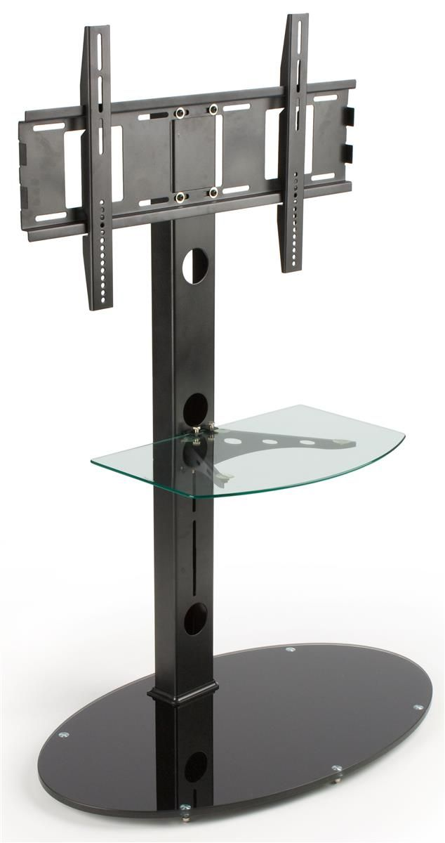 TV Stand For Floor With Adjustable Glass Shelf, Fits Monitors 37
