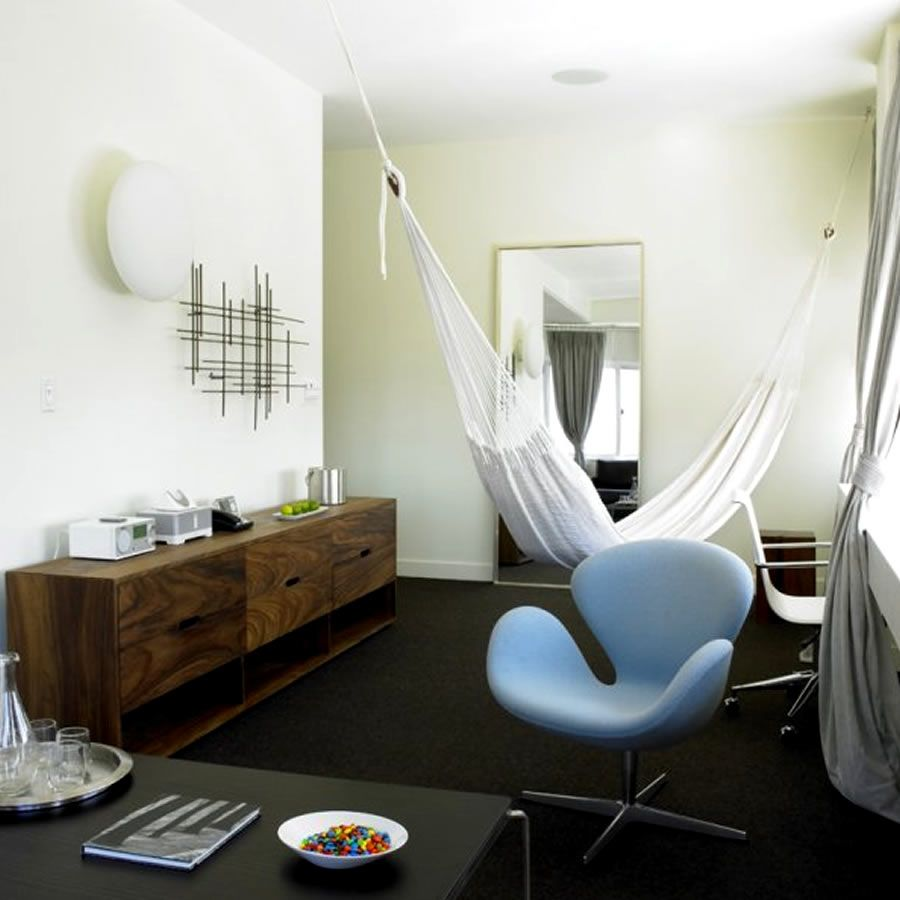 modern chic bedroom interior design king suite hammock nu hotel