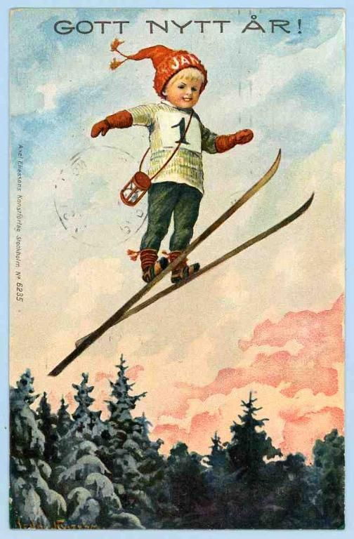 Pin By Suzan Van Der Willigen On Jenny Nystrom 1854 1946 Vintage Christmas Cards Antique Christmas Cards Vintage Happy New Year