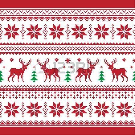 Navidad y de invierno de punto patr�n transparente o con tarjeta de ciervo - estilo scandynavian photo
