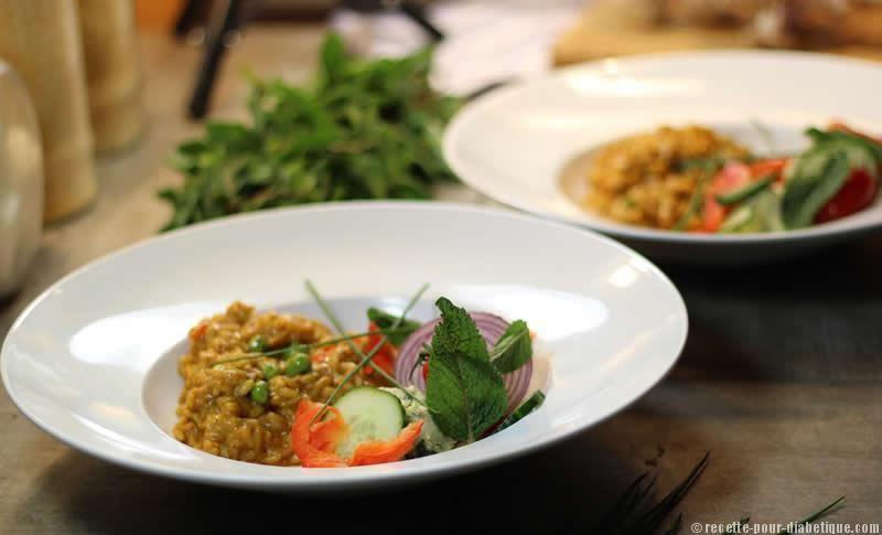 Risotto Curry Noix de coco aux Boulettes de Poisson à la MentheUn mariage entre l'Inde et l'Italie, coloré et fort en goût ce Risotto au curry a été préparé sans beurre, ni fromage, ni crème. #sansgluten #sanslactose #diabete