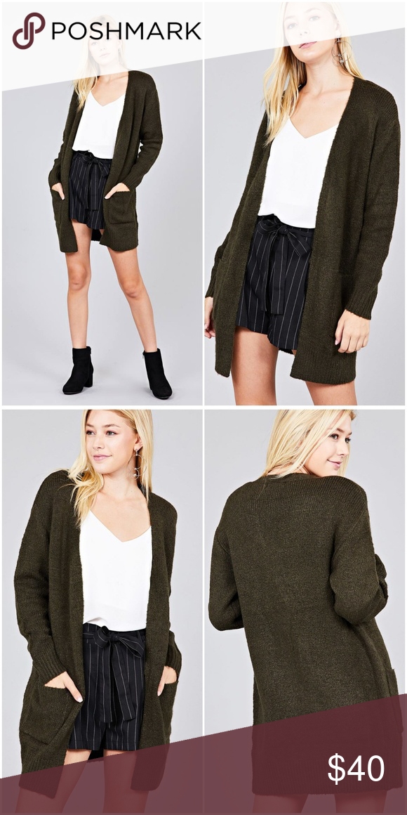 Olive Open Front Pocket Tunic Sweater Cardigan Ladies fashion long sleeve  open front w pocket tunic sweater cardigan S.M.L 68% Acrylic 28% Polyester  4% ... b4d71f958