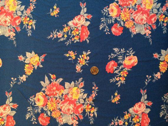 Knit Fabric Jersey Knit Floral Pattern 1 Yard