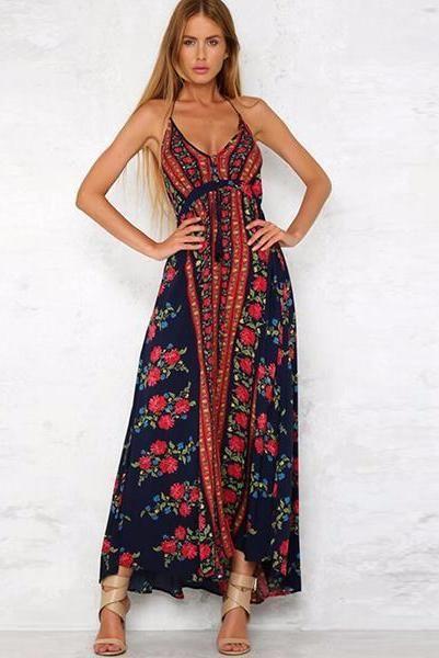 3b42685e19a25 Boho Off Shoulder Floral Print Sleeveless Maxi Dress in 2019 ...
