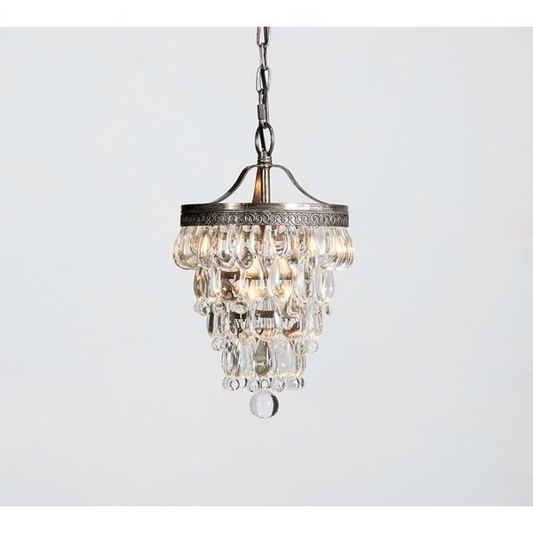 Wonderful Pottery Barn Clarissa Crystal Drop Small Round Chandelier (£165) ❤ Liked On  Polyvore