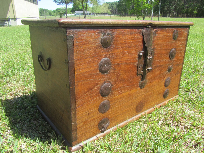 Antique Chest With Candle Box, Secret Compartment, Storage Box,1800  Treasure Trunk,