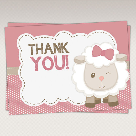 Cute Little Lamb Baby Shower Invitation 388 by PNArt on Etsy - baby shower thank you notes