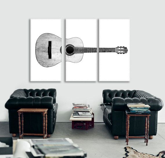 Black and White Acoustic Guitar Full View on 3 CANVAS Split , Decorating Ideas, Wall Decor, Wall Art, Music Decor #musicdecor