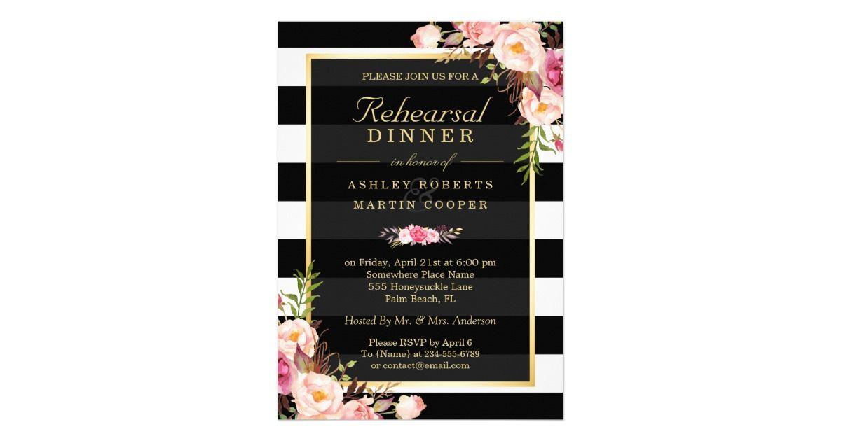 Wedding Rehearsal Dinner Vintage Gold Floral Decor Card Vintage Wedding Invitations