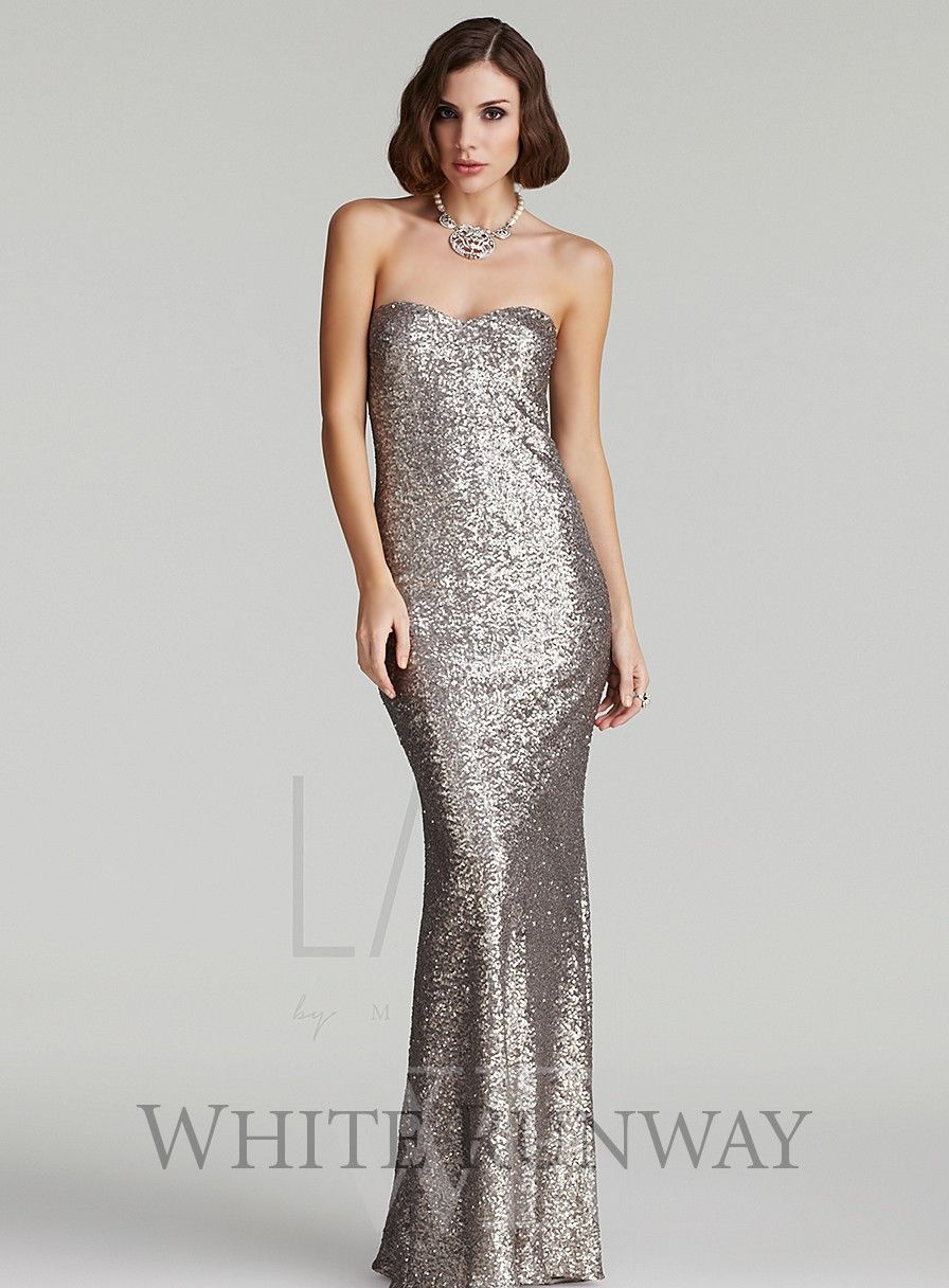 Jessica Sequin Strapless Dress - White Runway | Old Hollywood ...