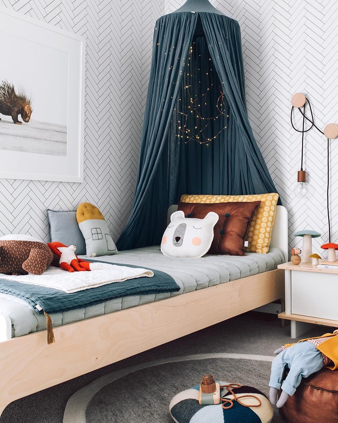 Dormitorio Infantil Con Papel Pintado Bedroom Kids Pinterest  ~ Papel Para Habitaciones Infantiles