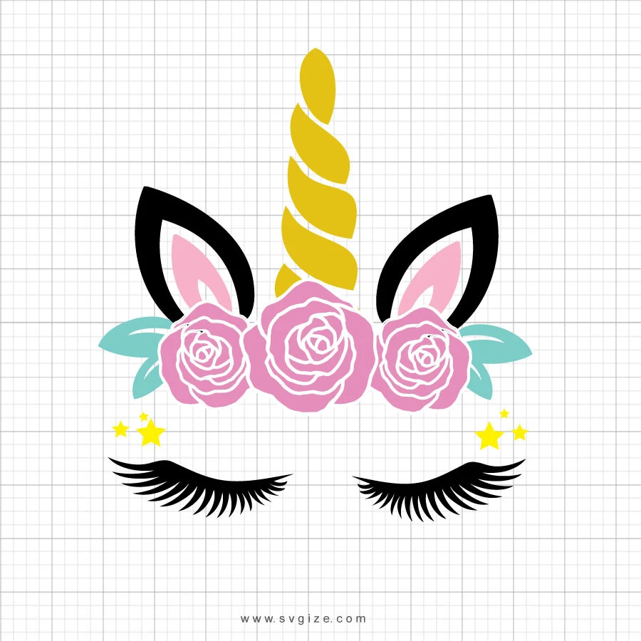 Unicorn Head Roses Svg Clipart Perfect for for your shop