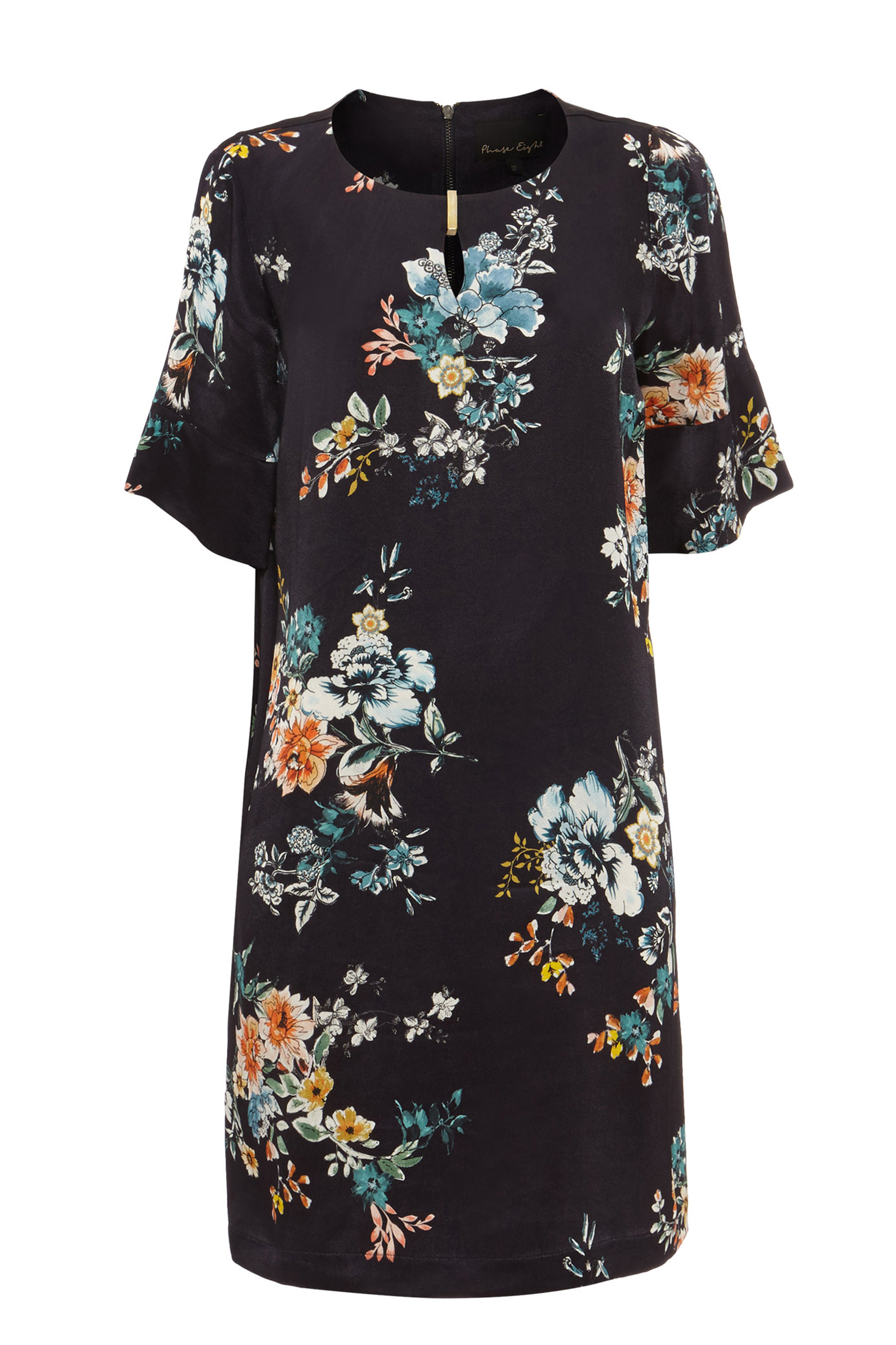 3e7d697d2896b2 Womens Phase Eight Black Multi Zadie Floral Tunic Dress - Black ...