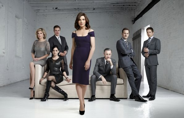 The cast of the CBS series THE GOOD WIFE. L-R: Christine Baranski as Diane Lockhart, Josh Charles as Will Gardner, Julianna Margulies as Alicia Florrick, Alan Cumming as Eli Gold, Chris Noth as Peter Florrick, Matt Czuchry as Cary Agos, and Archie Panjabi as Kalinda Sharma