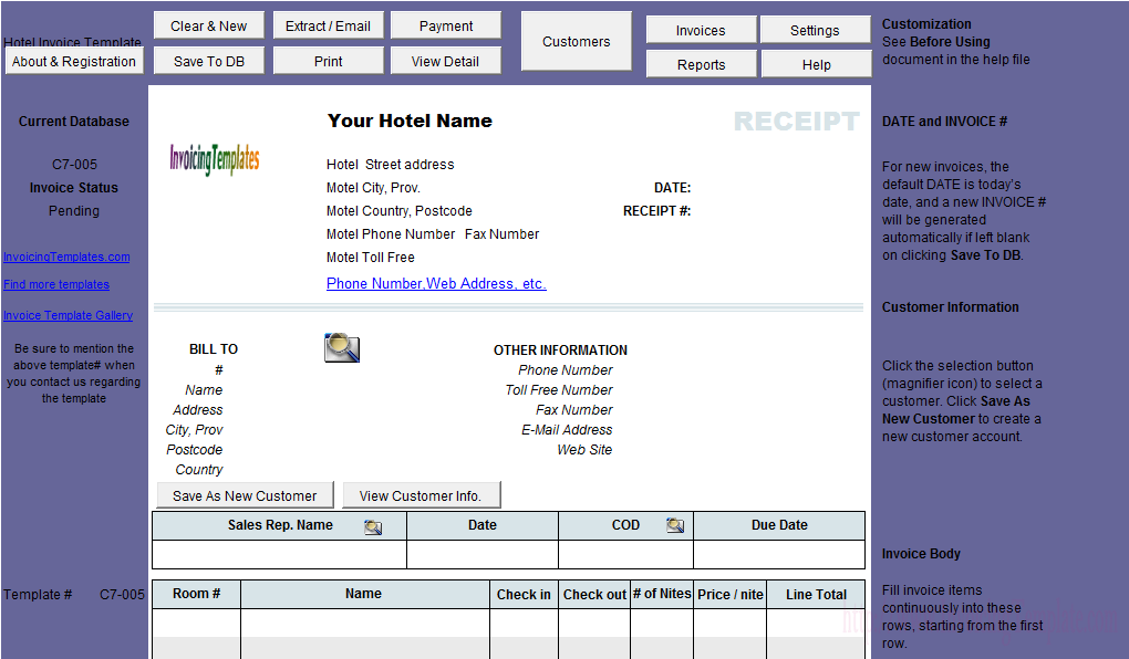 Hotel Invoice Template  Uniform Invoice Software V Edition