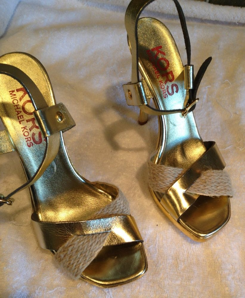 Michael Kors Gold Ankle Wrap Rope Stiletto Heels Size 8