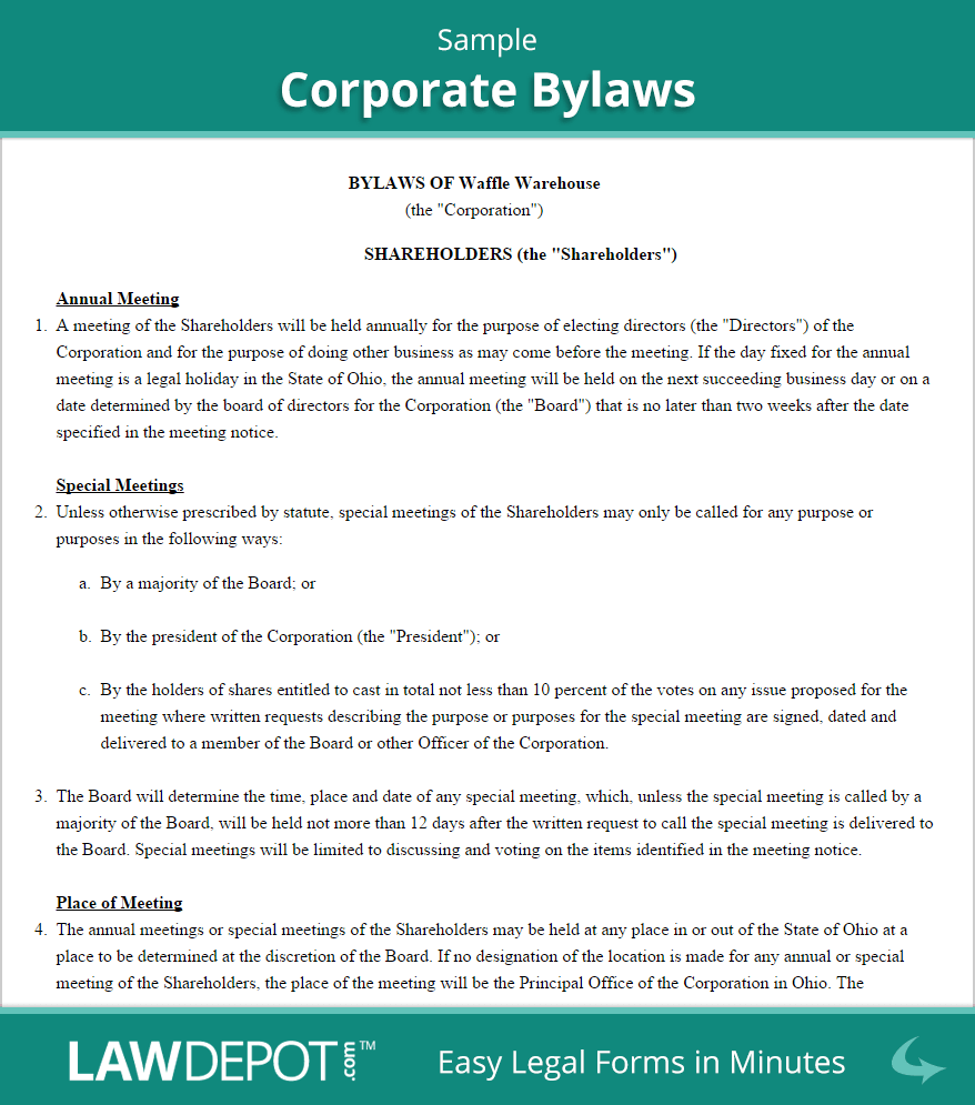 Sample Corporate Bylaws.png (878×995)  Bylaw Template