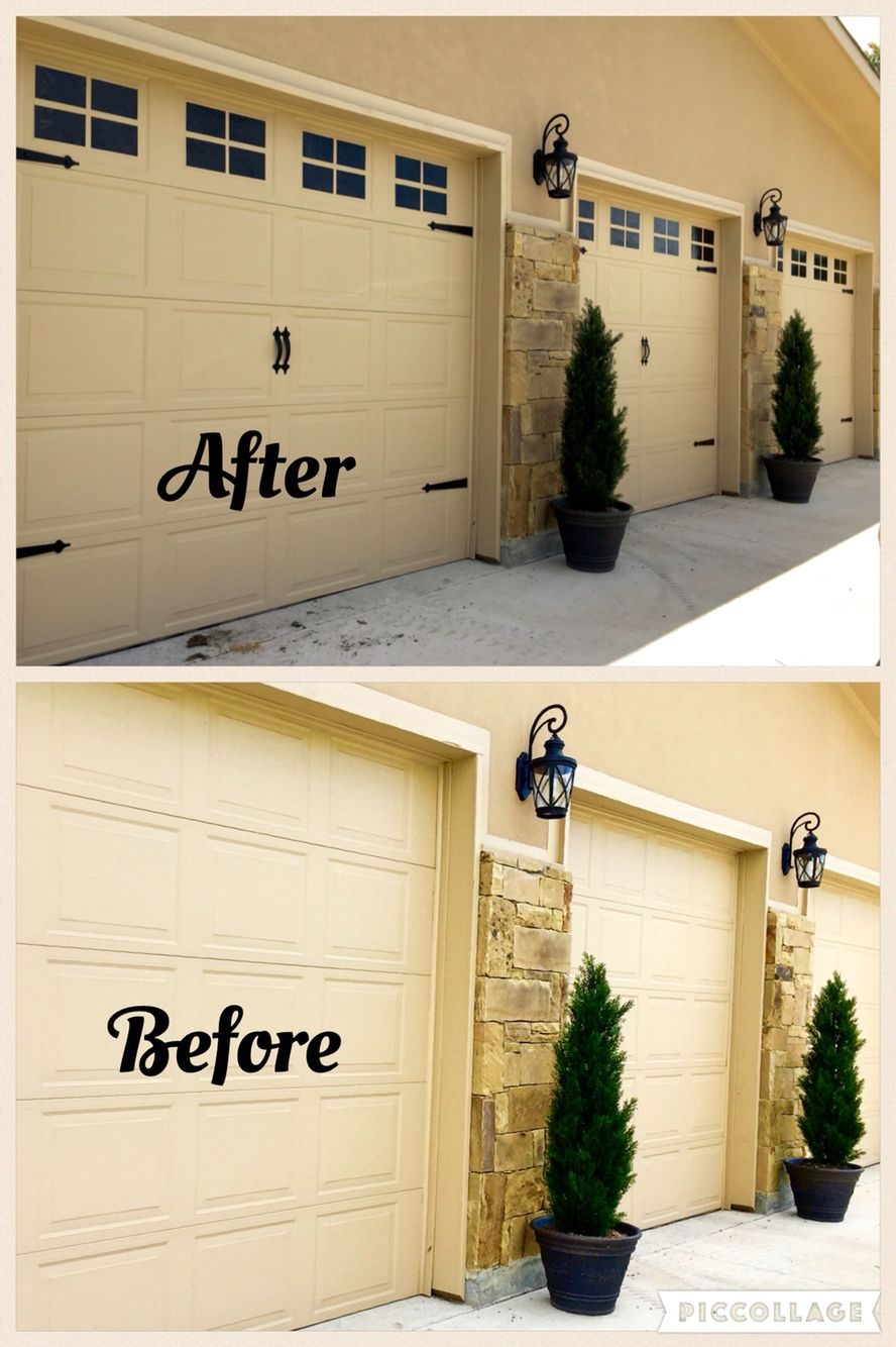 Faux Garage Windows Easy And Inexpensive Way To Dress Up Your Garage Doors I Used The Glossy Black Ora Garage Windows Cheap Garage Doors Garage Door Hardware