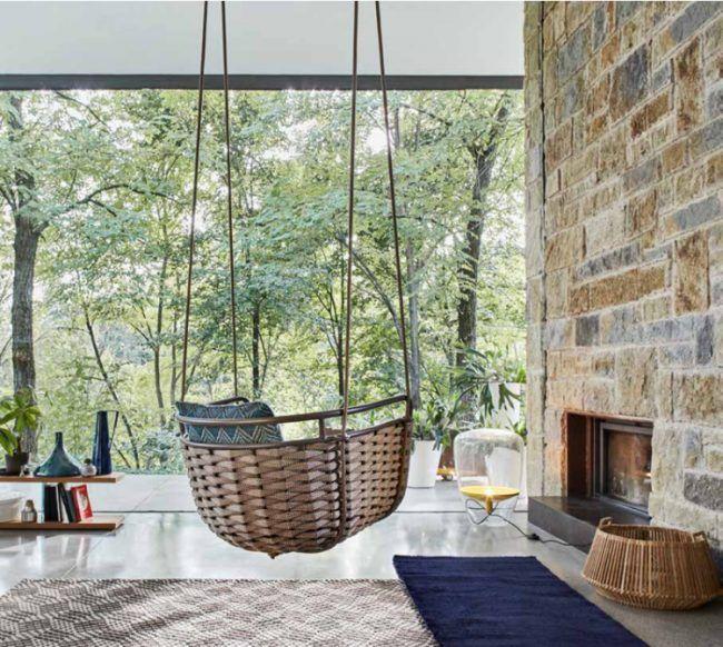 Elegant PORTOFINO Garden hanging chair by Roberti Rattan design Santiago Sevillano