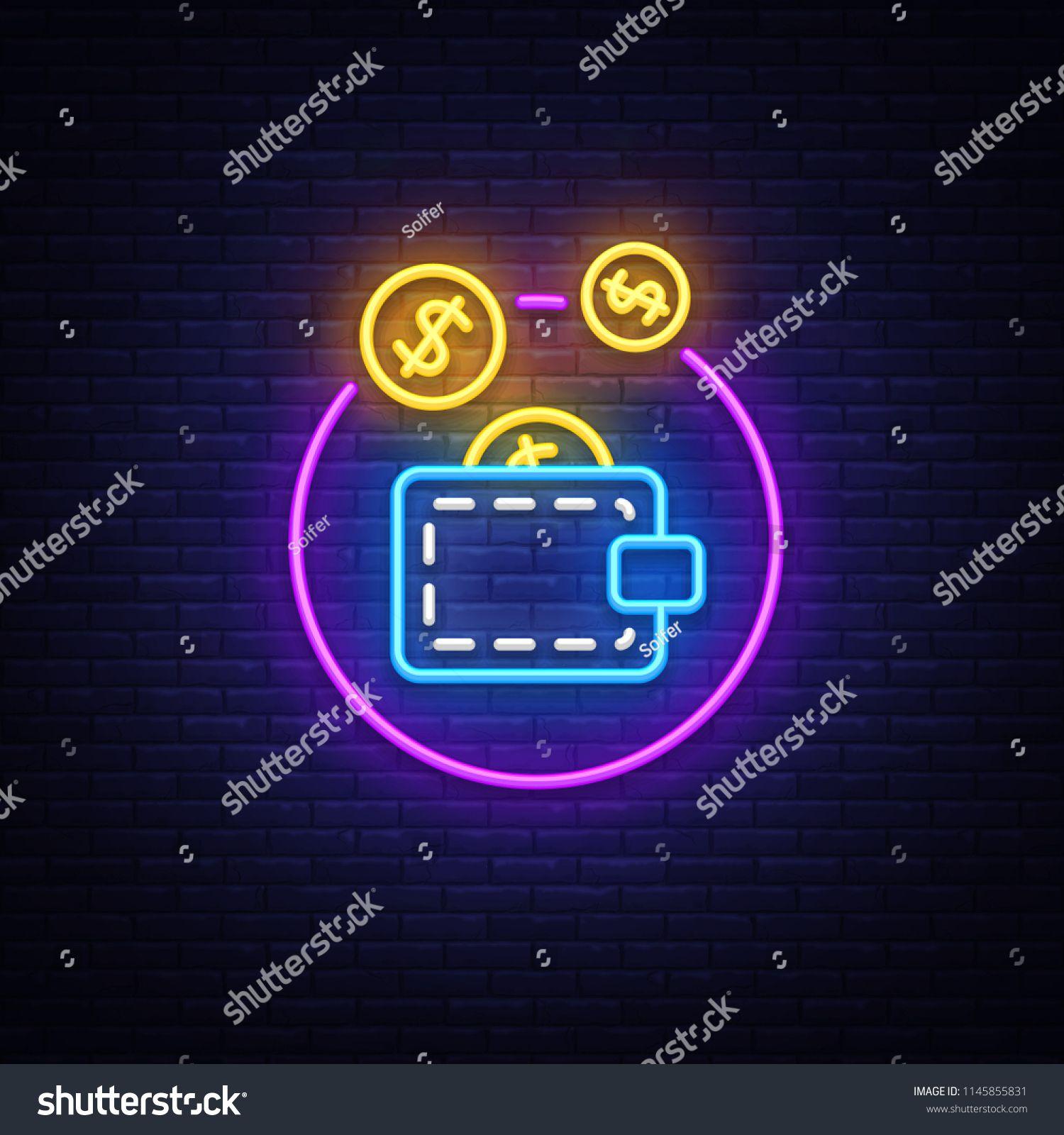 Wallet Neon Logo Vector Coin Purse Neon Sign Design Template Modern Trend Design Casino Neon Signboard Night Bright Advertising Neon Logo Vector Logo Neon
