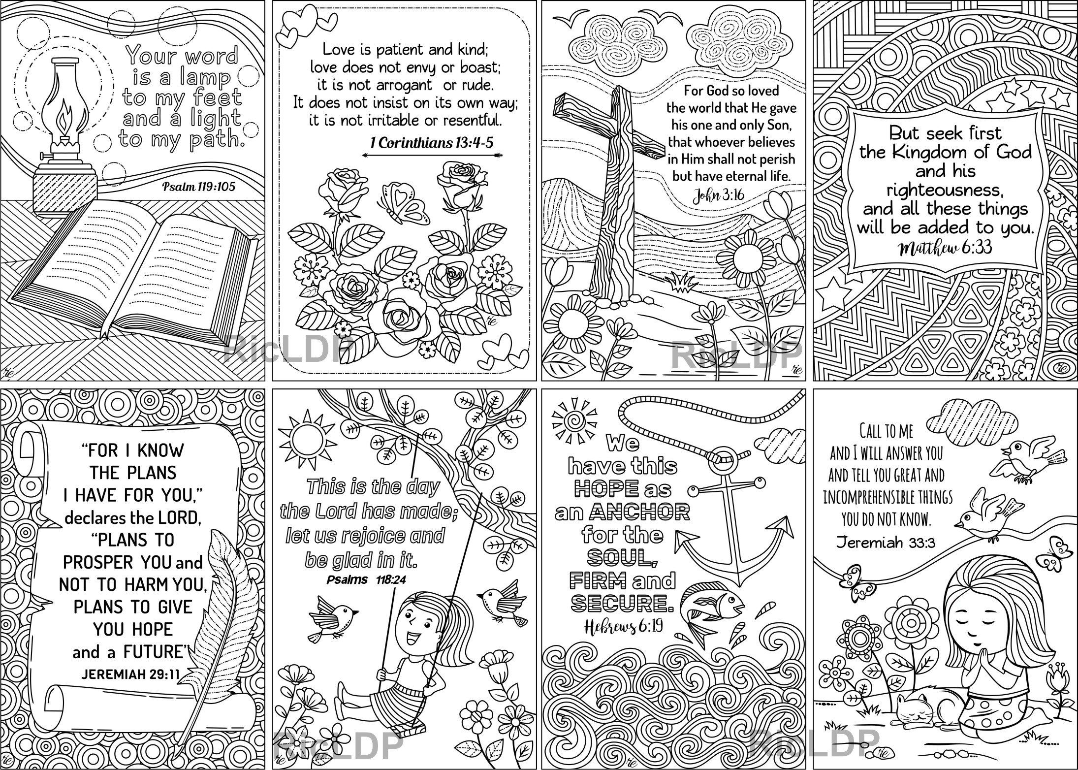 Set Of 8 Coloring Bible Cards Cute Scripture Doodles Etsy Bible Cards Christmas Coloring Pages Scripture Cards