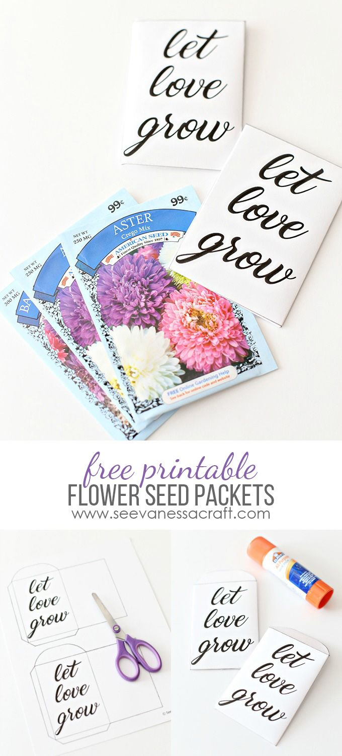 Printable Let Love Grow Seed Packets Garden Time Pinterest