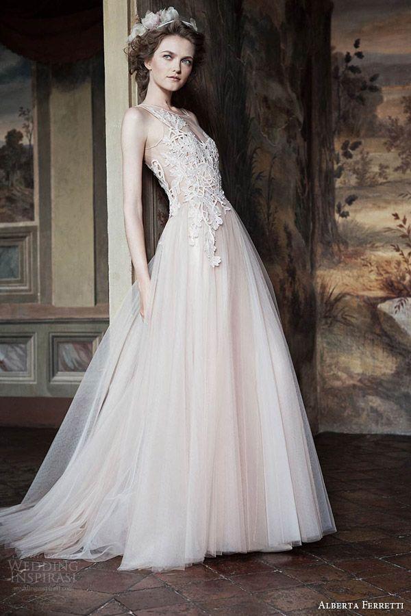f4a64c479e1f alberta ferretti bridal forever 2016 venera sleeveless blush wedding dress  lace bodice illusion neckline