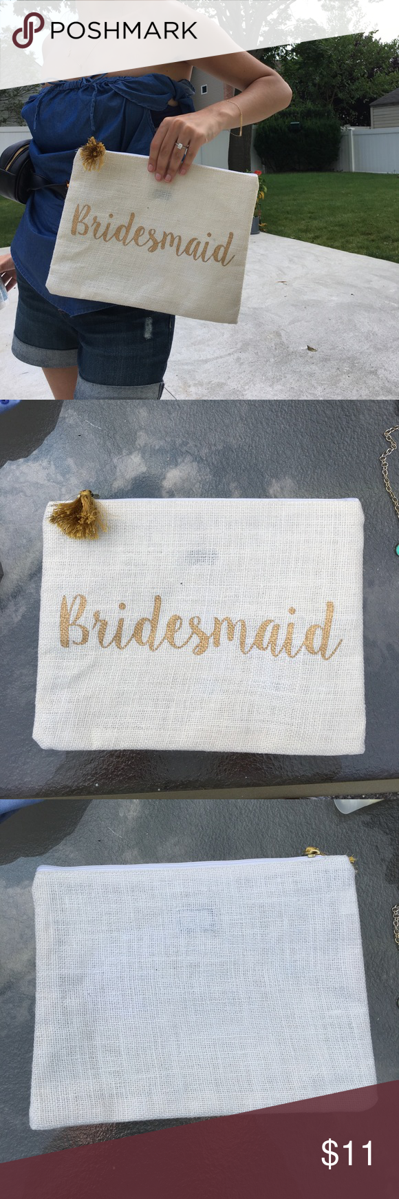 """Oversized CLUTCH """"bridesmaid"""" off white jute Zipper closure with gold tassel gold font """"Bridesmaid"""" oversized clutch by mud pie Bags Clutches & Wristlets"""