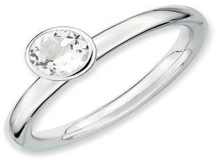 Sterling Silver Stackable Round Cut Solitaire White Topaz Band Ring (Online at Gemologica.com)