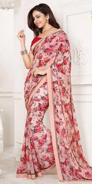 4e8c8d8721 Designing Pink Color Floral Printed Silk Saree.   Bangler Nari ...